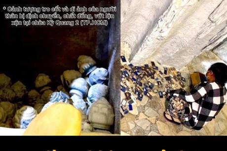 775 hũ tro cốt bị vứt xó, gỡ di ảnh tại chùa Kỳ Quang 2