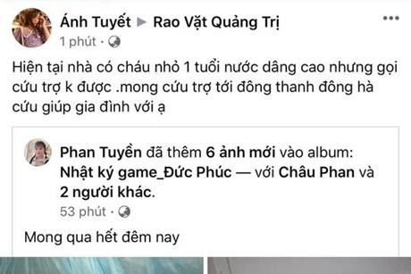 Lũ lên nhanh trong đêm, dân Quảng Trị kêu cứu khẩn thiết trên mạng